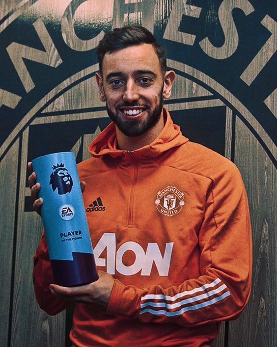 Manchester United's Bruno Fernandes becomes the first player in Premier League history to win 'Player of the Month' four times in the same calendar year