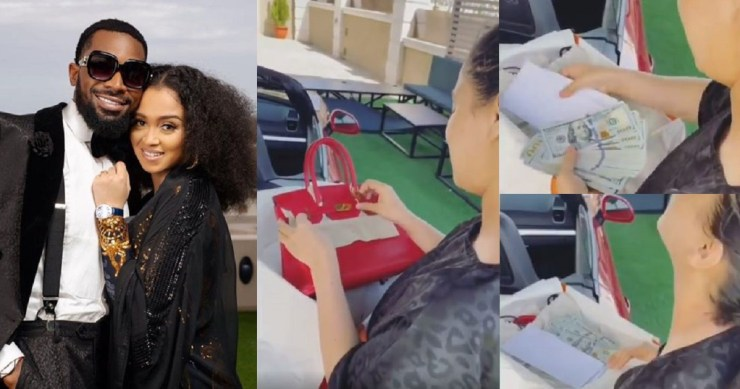D'banj spoils his wife with cash and a Hermes bag (video)