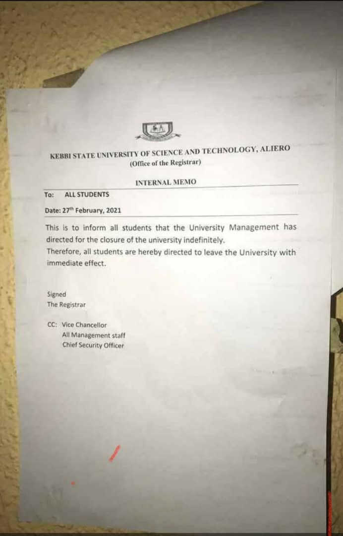 BREAKING..... Kebbi varsity shutdown indefinitely over insecurity