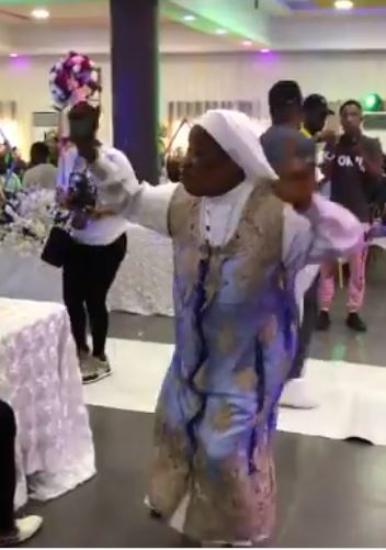 Reverend Sister scatters dance floor with cool moves to Timaya's song (Video)