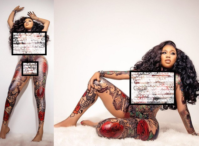 Fashion entrepreneur, Toyin Lawani goes completely naked to show off amazing body art in celebration of her 39th (photos)