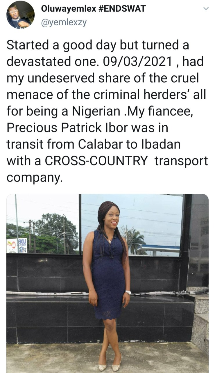 """Man cries out as his fiancée and other female passengers are kidnapped by """"criminal herders"""" between Ijebu ode and Ibadan"""