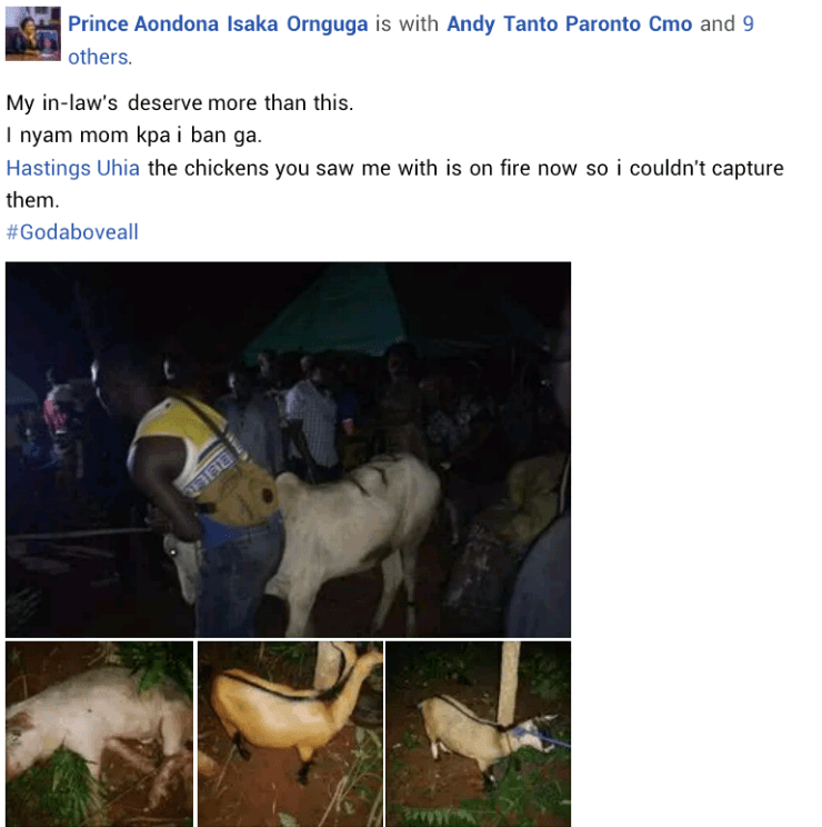 """""""My in-laws deserve more than this"""" - Benue groom shows off cow, goats and pig he gave his Igbo wife's family for traditional wedding"""
