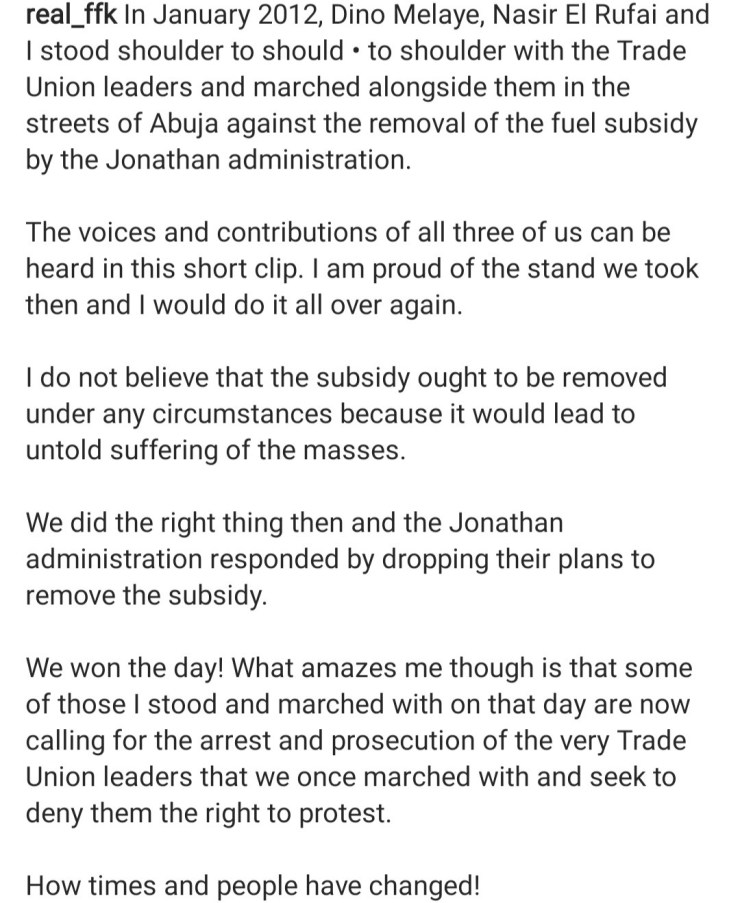 """""""How time flies and people have changed"""" FFK says as he shares old clips of him and El-Rufai protesting with Trade Union Leaders against removal of fuel subsidy by Jonathan administration"""