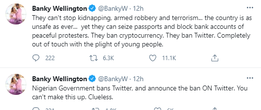 They can't stop kidnapping but can ban Twitter - Banky W tackles FG, suggests Nigerians should stop voting for any politicians older than 65