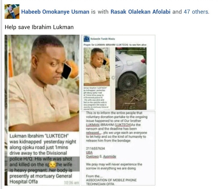 Update: Abducted husband of slain pregnant woman released after N2m ransom payment, cigarettes, cartons of milk, malt drinks