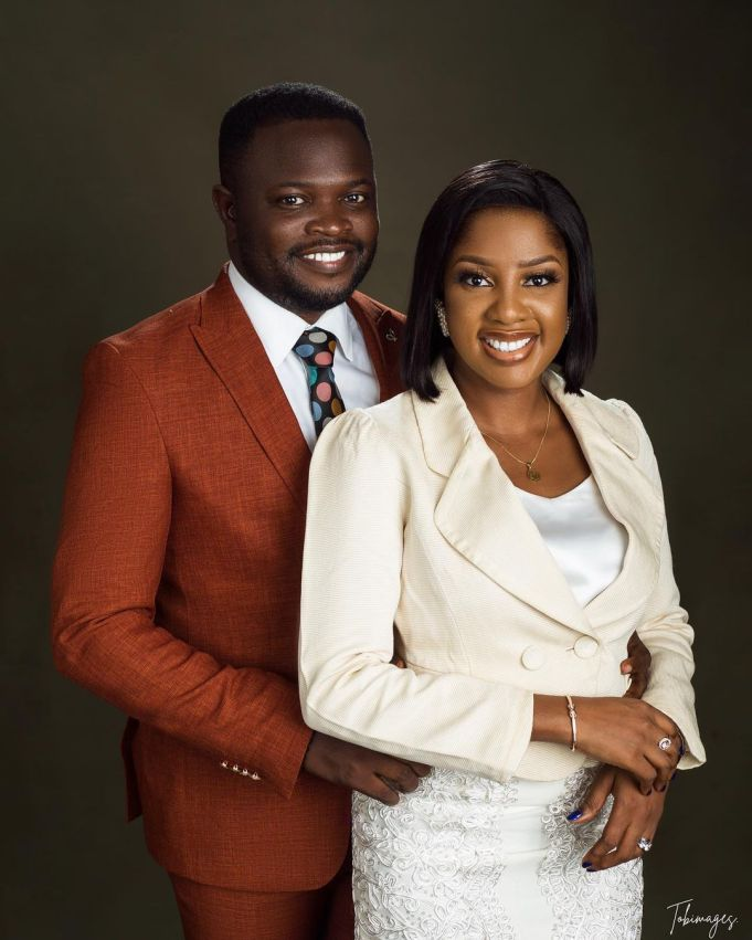 Actor Seun Osigbesan advises married couples as she shows off her husband (Photos)