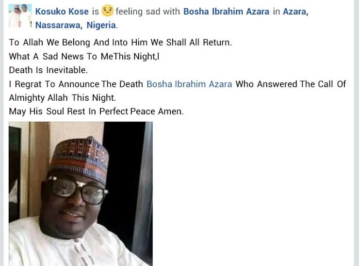 Nasarawa APC chieftain is dead