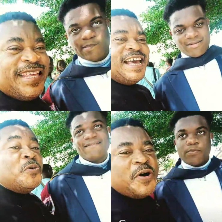 """''Your mumu go pass my own""""- comic actor Victor Osuagwu jokingly tells his son as he graduates from school (video)"""