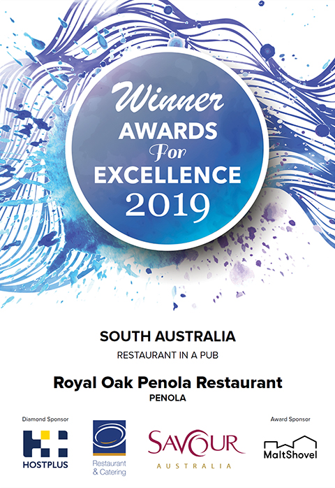 The Best Restaurant in a Pub Award South Australia - The Royal Oak Penola