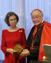 Queen Sofia of Spain receives the Path to Peace award next to Cardinal Renato Martino at the United Nations on June 4, NY. The award is given to individuals each year in recognition of their development of peace.