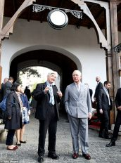 "HRH The Prince of Wales with the architectural historian Valentin Mandache at ""Hanul lui Manuc"", Bucharest, 31 March 2017"