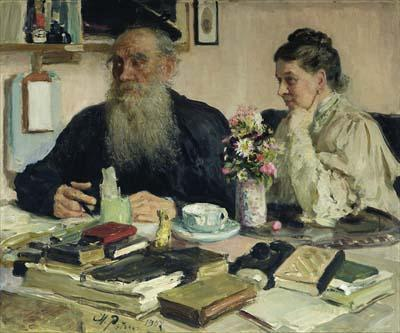 Painted by Repin, Leo and his wife Sofya