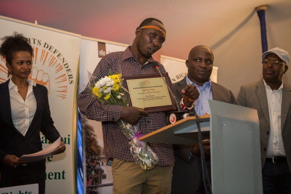 Elias Kimaiyo giving a speech after winning the Human Rights Defender of the Year 2017 Award