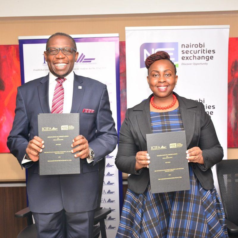 The Nairobi Securities Exchange (NSE) and the Institute of Certified Financial Analysts (ICIFA) today signed a Memorandum of Understanding (MoU) aimed at advancing the financial and investment services.