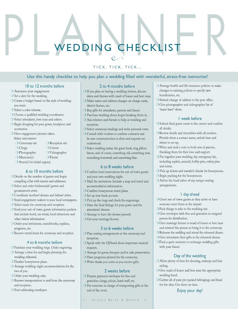 SAMPLES OF A WEDDING PLANNING CHECKLIST – RoyaltyCosmos