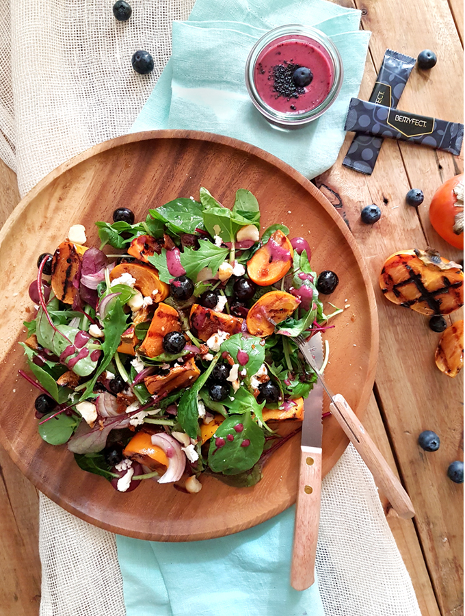 Grilled Persimmon and Blueberry Salad with Feta Cheese & Macadamias