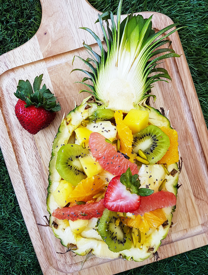 Pineapple Boat Fruit Salad with Chia Seeds & Pistachios