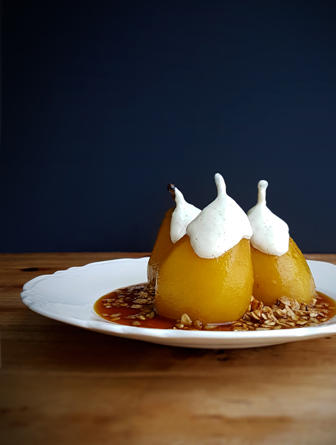Poached pears in saffron and calvados; with vanilla cashew cream