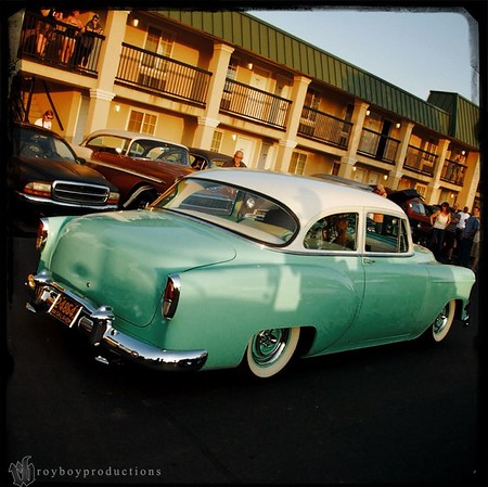 A kool mild kustom cruising the parking lot of the host hotel for the Stray Kat 500. 1st weekend each May