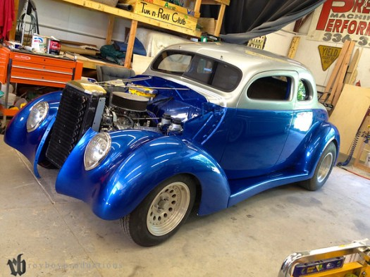 A 37 Ford in Fast A.L.'s Upholstery for a full kustom interior.