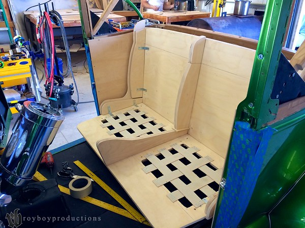 Aaron has been fast at work forming the wood frame portions of the new seat.