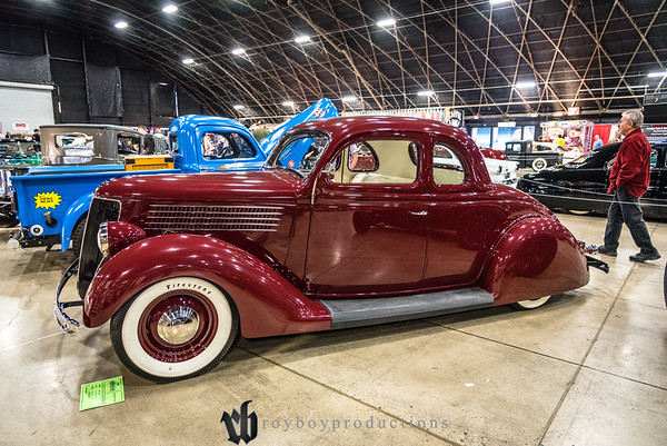 2017; GNRS; Friday; 163; 1936; CA; California; Deluxe Coupe; Ford; Grand National Roadster Show; Jake Steele; Pomona 1936 Ford Deluxe Coupe owned by Jake Steele