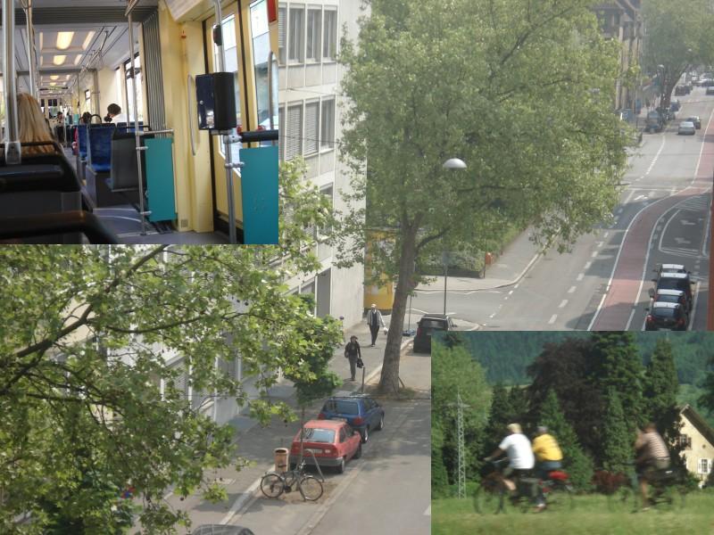 Kat tengah bandar Mannheim ni pun ada lorong basikal, yang warna merah tu. Gambar kecik laluan basikal di kawasan pedalaman. Trams free yang kami orang naik.. saya ada beli tiket 24 hour, tapi tak penah punch pun time dia kat dalam Trams tu.. hehe