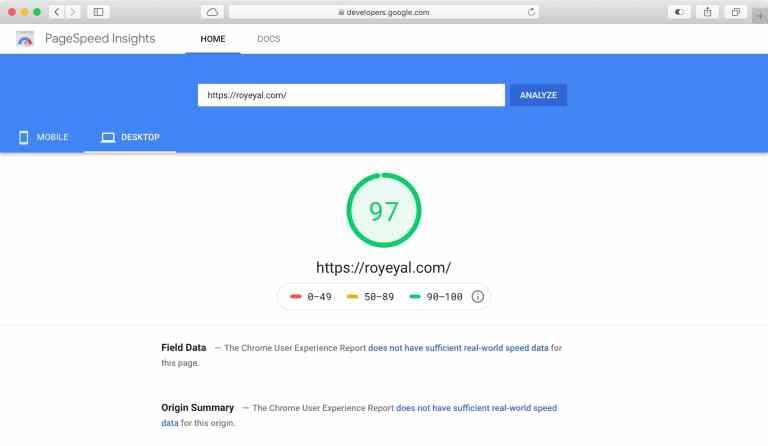 תוצאות בדיקת מהירות האתר ב-Google Page Speed עם התוצאה של 97