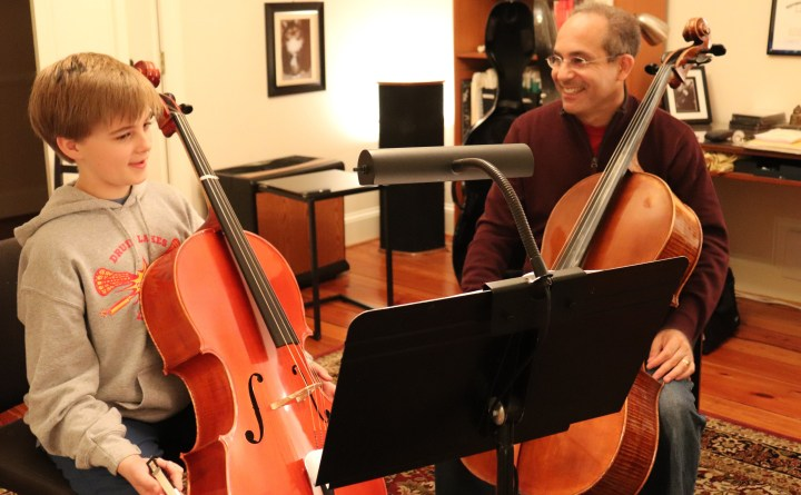 Atlanta cello teacher in his home studio