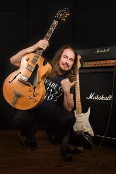 Roy Orbison Jr with guitars and Marshall