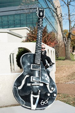 Roy Orbison's grandson, Roy Orbison 3rd, on giant Roy Orbison guitar! Music Row in Nashville, Tennessee