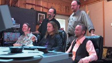 """The Orbison Brothers working on the Roy Orbison song """"The Way Is Love"""" with John Carter Cash in the Johnny Cash Cabin Studio in Hendersonville, TN"""