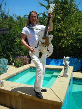 Roy Orbison Jr with Falcon Guitar in sunny Hollywood hills