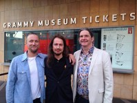 """At the Grammy Museum in Los Angeles, California. At the premier of the film documentary """"Mystery Girl Unraveled"""". Roy Orbison Jr with his brothers Alex (left) and Wesley (right)"""