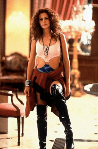 Pretty Woman Julia Roberts in the classic movie outfit!