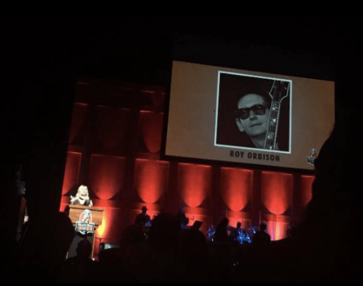 Proud of Emily Orbison who is representing the Orbison family at Roy Orbisons induction at the Memphis Music Hall of Fame tonight! — with Roy Orbison.