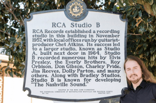 Me (Roy Orbison Jr) at RCA Studio B plaque in front of the building. T