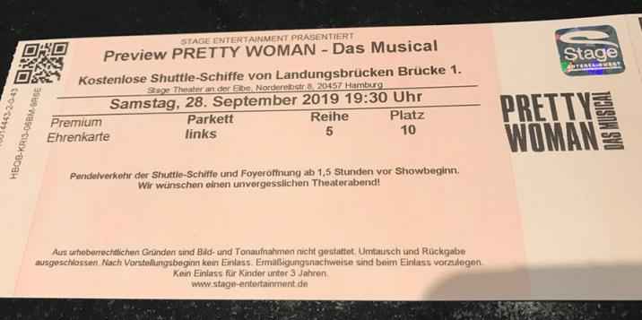 My Pretty Woman Das Musical ticket!
