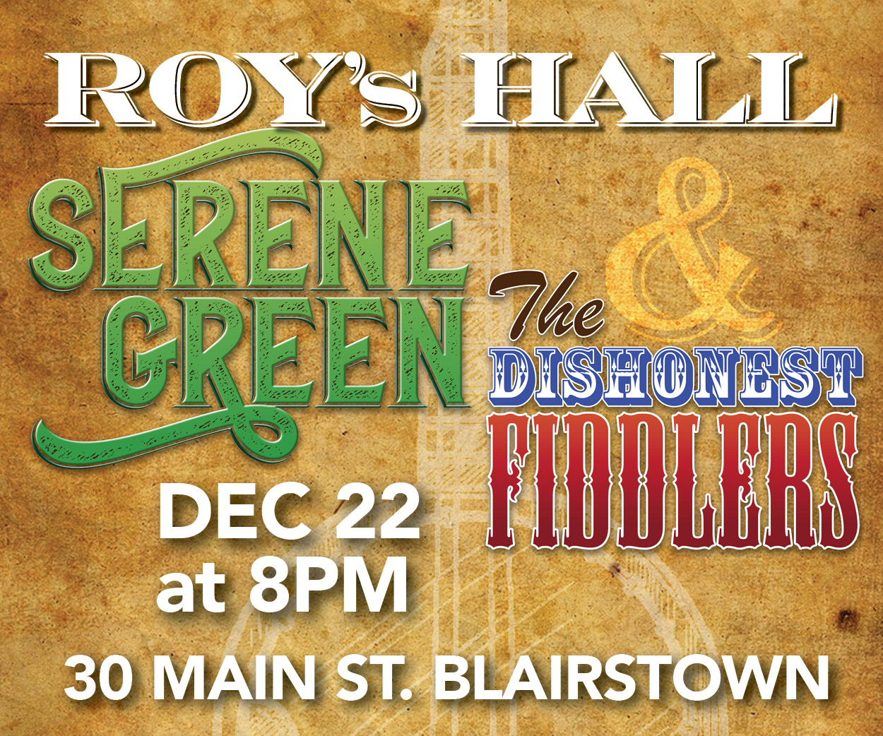 a holiday pickin 39 party with serene green the dishonest fiddlers roy 39 s hall. Black Bedroom Furniture Sets. Home Design Ideas