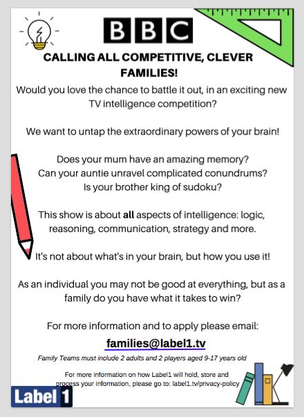 Calling all competitive, clever families…