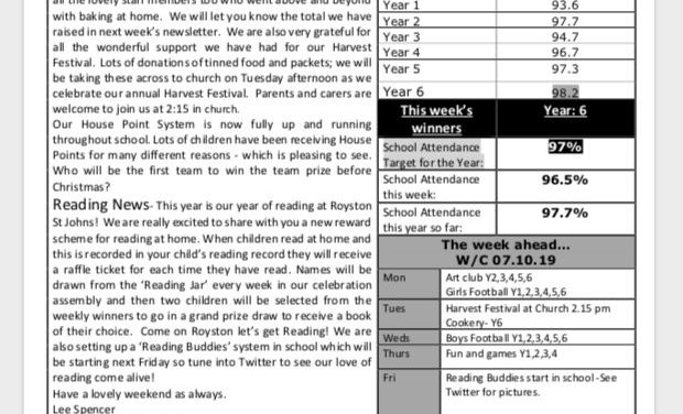 Newsletter Friday 4th October