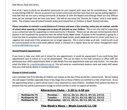 Newsletter Friday 13th November