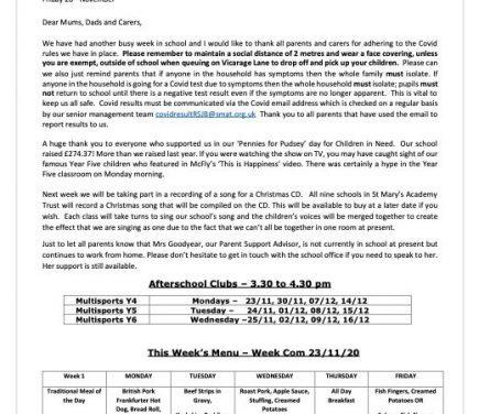 Newsletter Friday 20th November