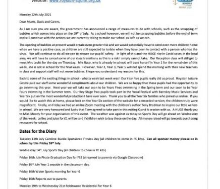 Newsletter 12 July 2021