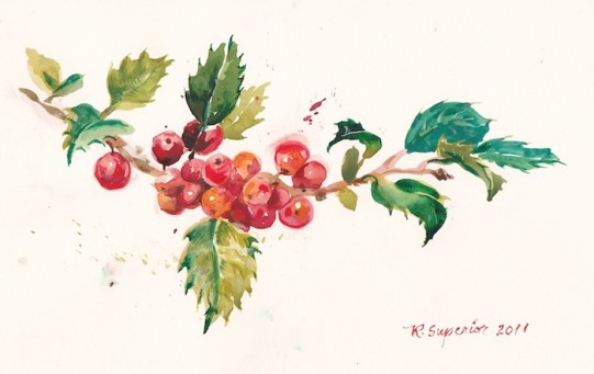 """Roy Superior, """"Painting for a Christmas Card."""""""