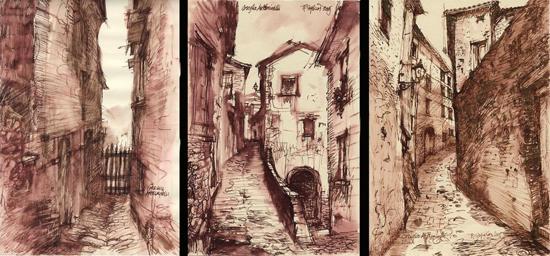 """Roy Superior, """"Hilltown Triptych"""""""