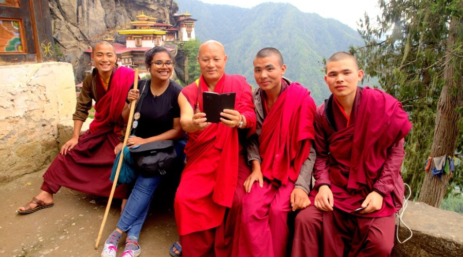long term travel hiking with monks in bhutan
