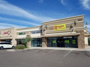 Royyim Thai Cuisine front store. We are located in Mesa, Arizona. We are next to Dunkin Donut, Mint Salon, and The White Spa.