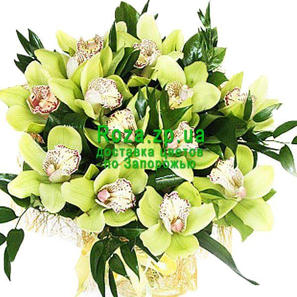 Заказать букет зеленых орхидей Rozazpua